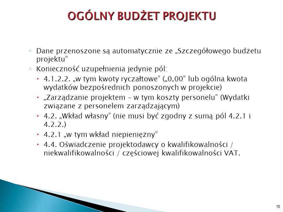 Dane przenoszone są automatycznie ze Szczegółowego budżetu projektu Konieczność uzupełnienia jedynie pól: 4.1.2.2. w tym kwoty ryczałtowe (0,00 lub og