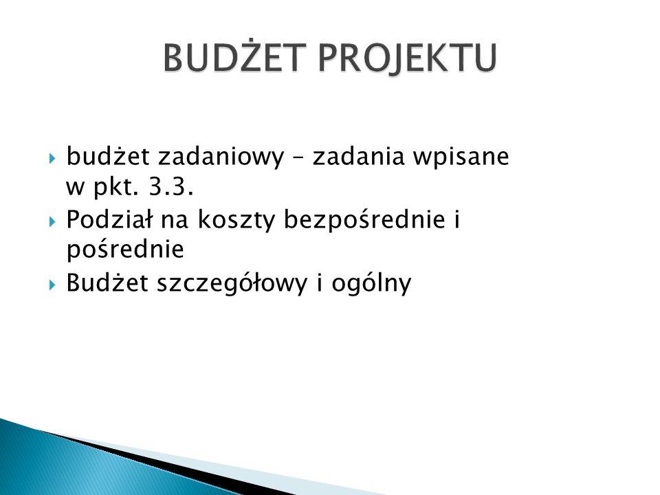 budżet zadaniowy – zadania wpisane w pkt. 3.3.
