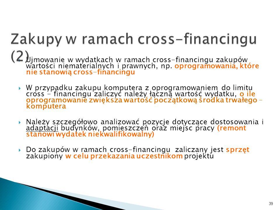 Ujmowanie w wydatkach w ramach cross-financingu zakupów wartości niematerialnych i prawnych, np. oprogramowania, które nie stanowią cross-financingu W