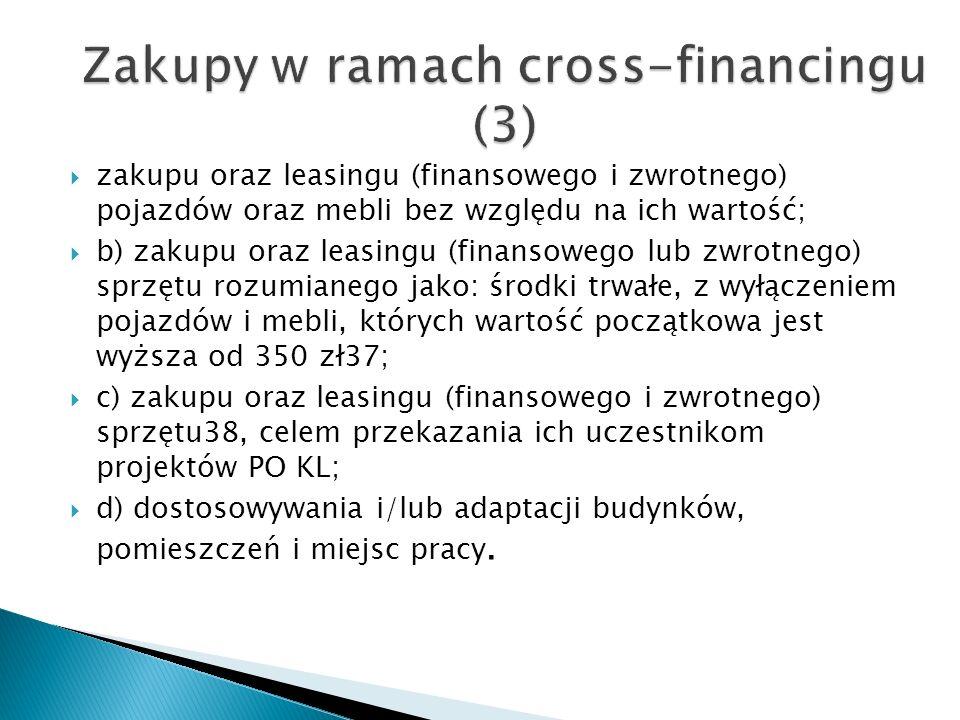zakupu oraz leasingu (finansowego i zwrotnego) pojazdów oraz mebli bez względu na ich wartość; b) zakupu oraz leasingu (finansowego lub zwrotnego) sprzętu rozumianego jako: środki trwałe, z wyłączeniem pojazdów i mebli, których wartość początkowa jest wyższa od 350 zł37; c) zakupu oraz leasingu (finansowego i zwrotnego) sprzętu38, celem przekazania ich uczestnikom projektów PO KL; d) dostosowywania i/lub adaptacji budynków, pomieszczeń i miejsc pracy.