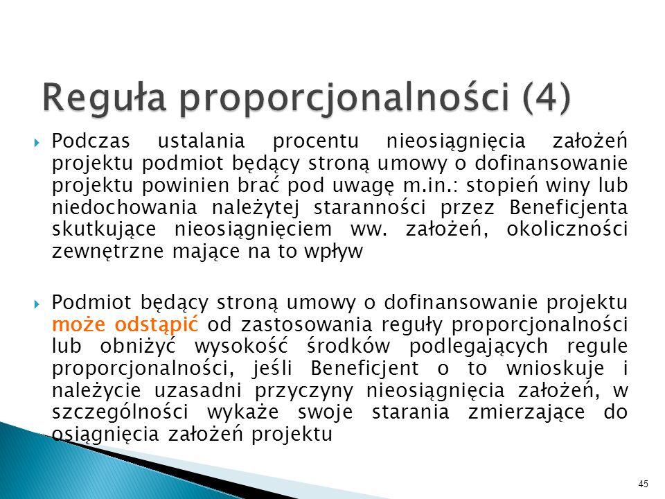 Podczas ustalania procentu nieosiągnięcia założeń projektu podmiot będący stroną umowy o dofinansowanie projektu powinien brać pod uwagę m.in.: stopie