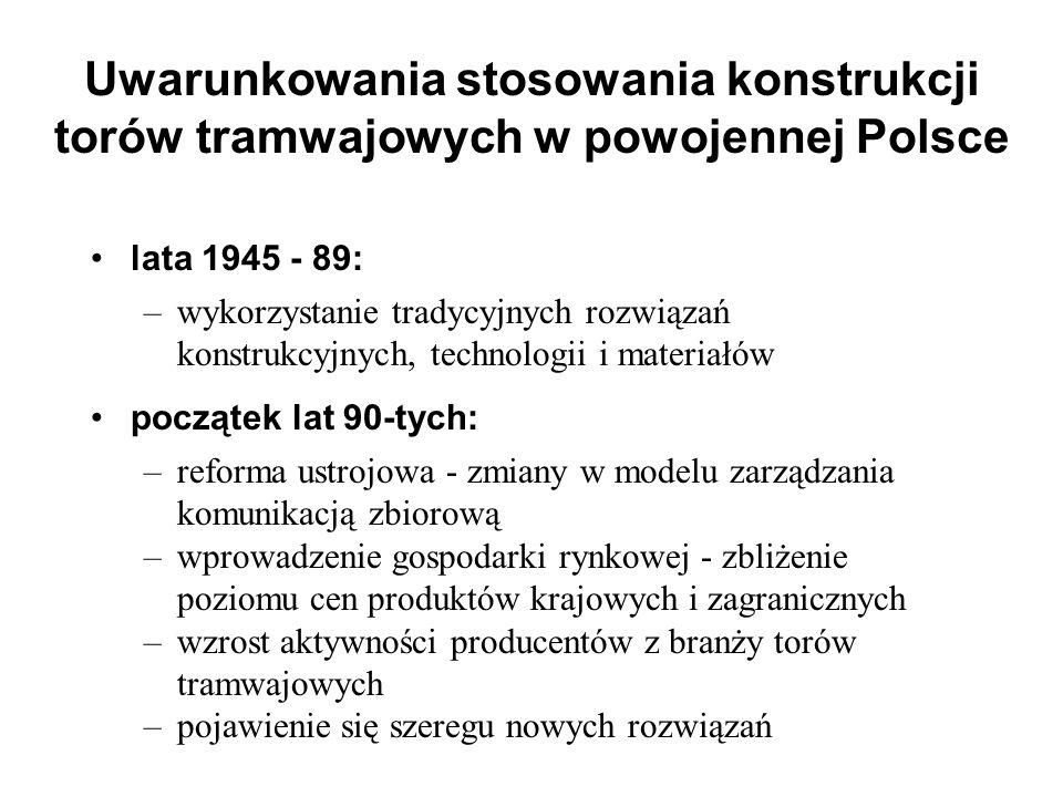 Uwarunkowania stosowania konstrukcji torów tramwajowych w powojennej Polsce lata 1945 - 89: –wykorzystanie tradycyjnych rozwiązań konstrukcyjnych, tec