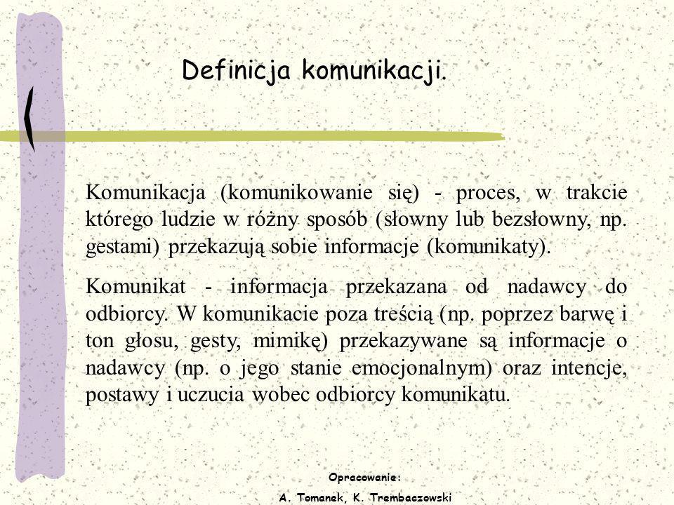 Opracowanie: A. Tomanek, K. Trembaczowski Definicja komunikacji. Komunikacja (komunikowanie się) - proces, w trakcie którego ludzie w różny sposób (sł