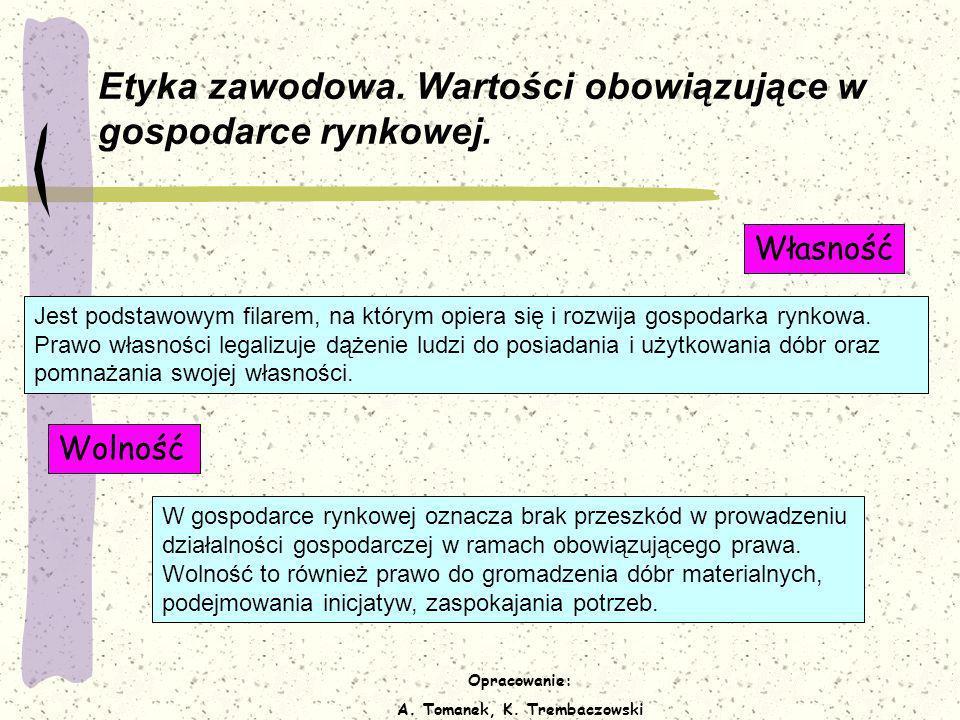 Opracowanie: A. Tomanek, K. Trembaczowski Etyka zawodowa. Wartości obowiązujące w gospodarce rynkowej. Jest podstawowym filarem, na którym opiera się