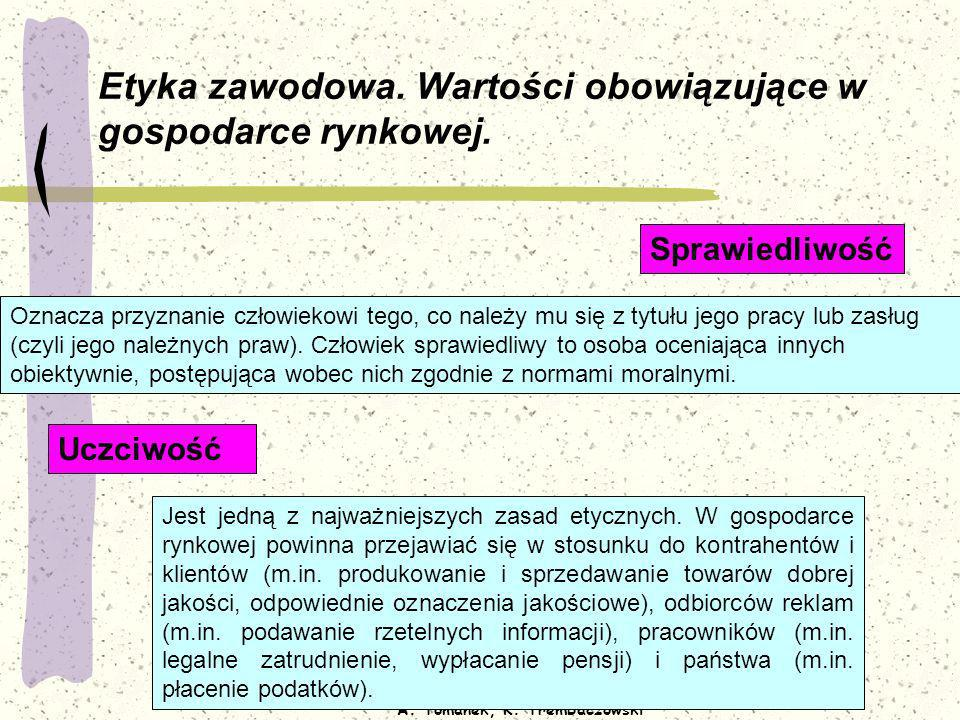 Opracowanie: A. Tomanek, K. Trembaczowski Etyka zawodowa. Wartości obowiązujące w gospodarce rynkowej. Oznacza przyznanie człowiekowi tego, co należy