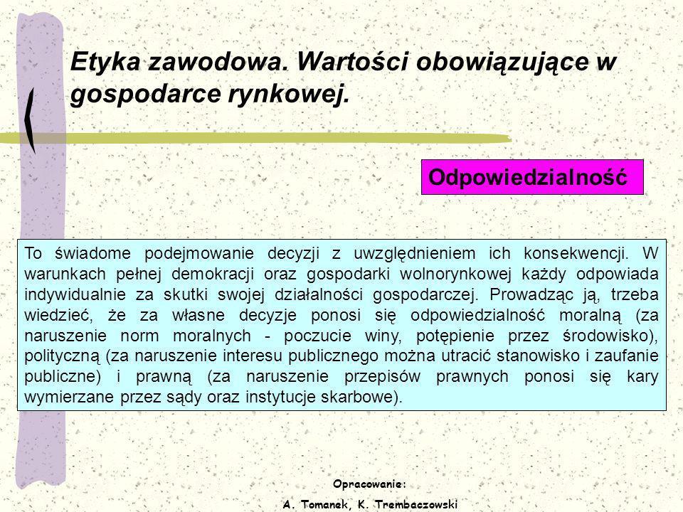Opracowanie: A. Tomanek, K. Trembaczowski Etyka zawodowa. Wartości obowiązujące w gospodarce rynkowej. To świadome podejmowanie decyzji z uwzględnieni