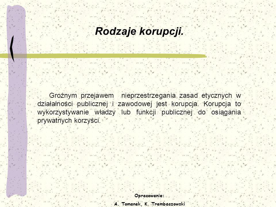 Opracowanie: A. Tomanek, K. Trembaczowski Rodzaje korupcji. Groźnym przejawem nieprzestrzegania zasad etycznych w działalności publicznej i zawodowej