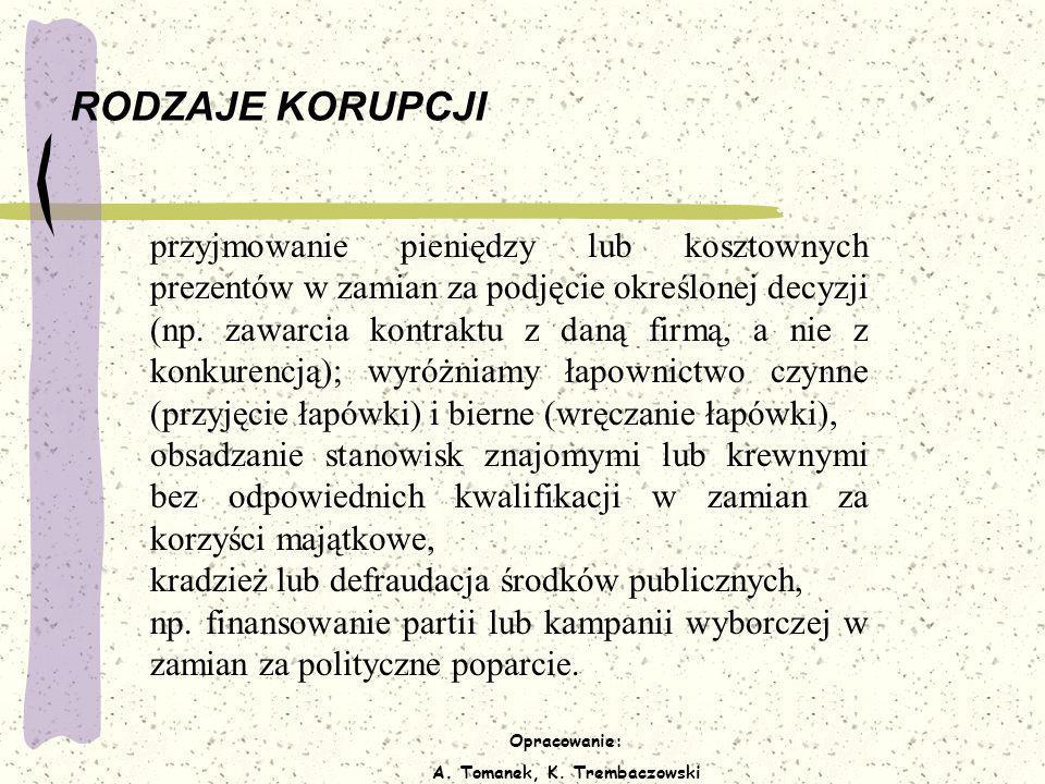 Opracowanie: A. Tomanek, K. Trembaczowski RODZAJE KORUPCJI przyjmowanie pieniędzy lub kosztownych prezentów w zamian za podjęcie określonej decyzji (n