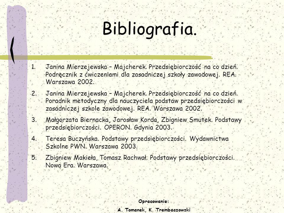 Opracowanie: A. Tomanek, K. Trembaczowski Bibliografia. 1.Janina Mierzejewska – Majcherek. Przedsiębiorczość na co dzień. Podręcznik z ćwiczeniami dla