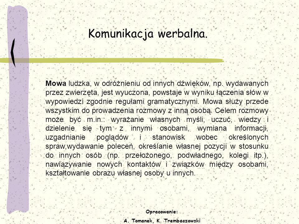 Opracowanie: A. Tomanek, K. Trembaczowski Komunikacja werbalna. Mowa ludzka, w odróżnieniu od innych dźwięków, np. wydawanych przez zwierzęta, jest wy