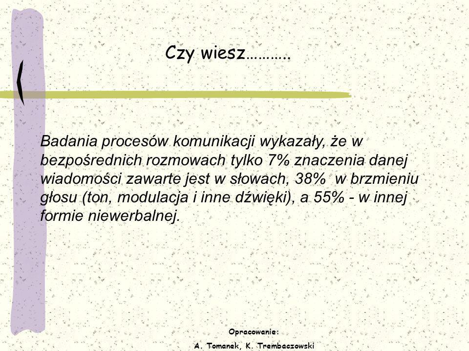 Opracowanie: A. Tomanek, K. Trembaczowski Czy wiesz……….. Badania procesów komunikacji wykazały, że w bezpośrednich rozmowach tylko 7% znaczenia danej