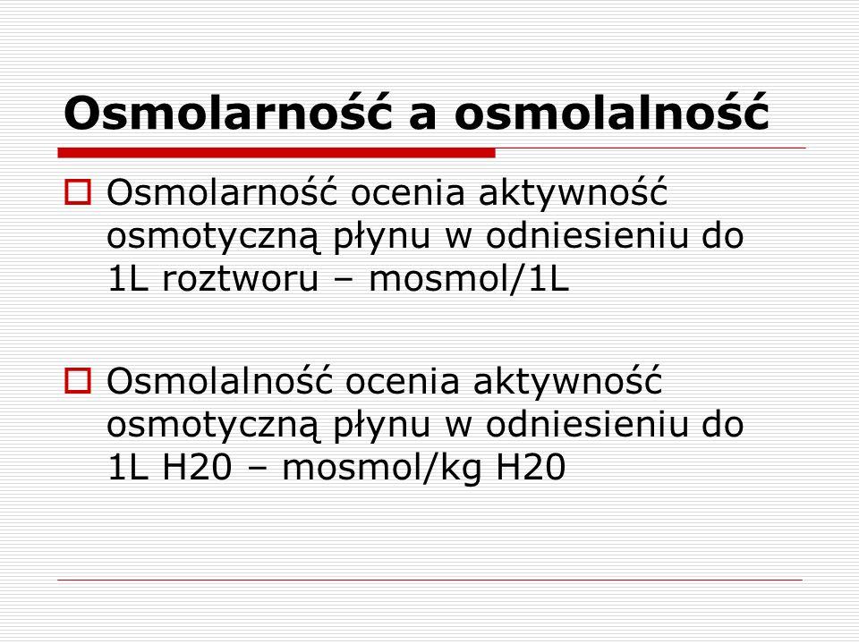 Osmolarność a osmolalność Osmolarność ocenia aktywność osmotyczną płynu w odniesieniu do 1L roztworu – mosmol/1L Osmolalność ocenia aktywność osmotycz