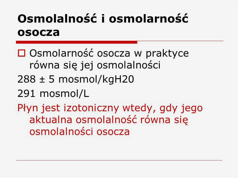 Osmolalność i osmolarność osocza Osmolarność osocza w praktyce równa się jej osmolalności 288 ± 5 mosmol/kgH20 291 mosmol/L Płyn jest izotoniczny wted