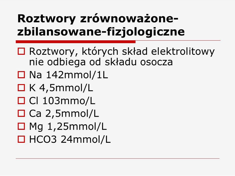Roztwory zrównoważone- zbilansowane-fizjologiczne Roztwory, których skład elektrolitowy nie odbiega od składu osocza Na 142mmol/1L K 4,5mmol/L Cl 103m