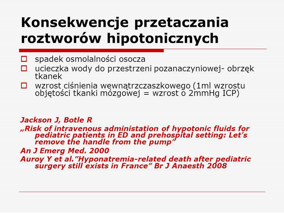 Konsekwencje przetaczania roztworów hipotonicznych spadek osmolalności osocza ucieczka wody do przestrzeni pozanaczyniowej- obrzęk tkanek wzrost ciśni