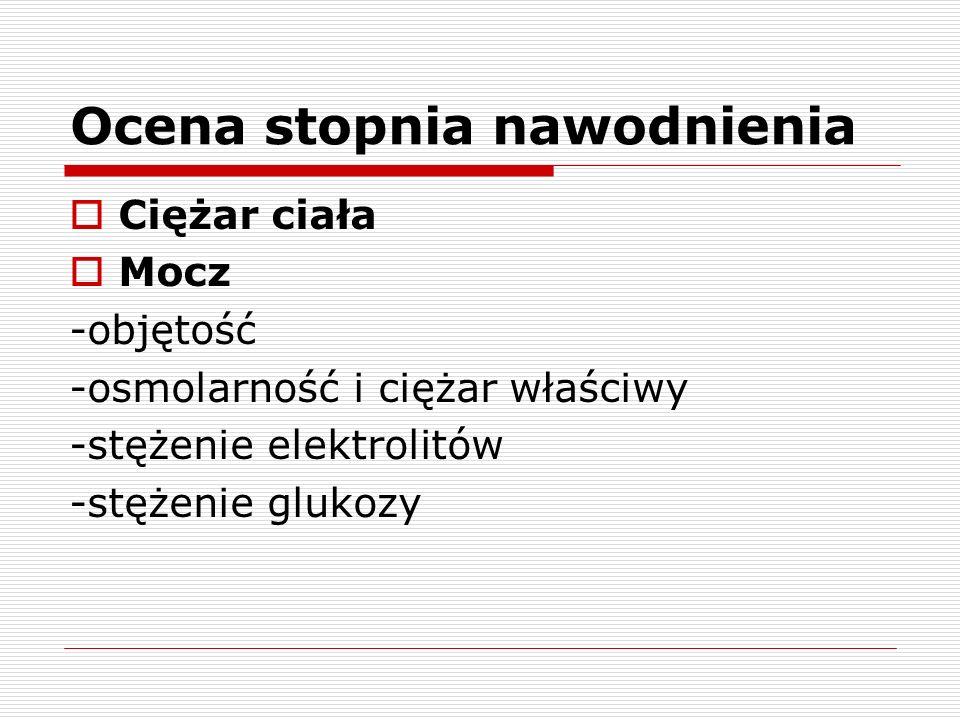 Ocena stopnia nawodnienia Osocze -poziom elektrolitów (Na, Cl) -stężenie glukozy -osmolarność -poziom mocznika i kreatyniny -hematokryt -równowaga kwasowo-zasadowa