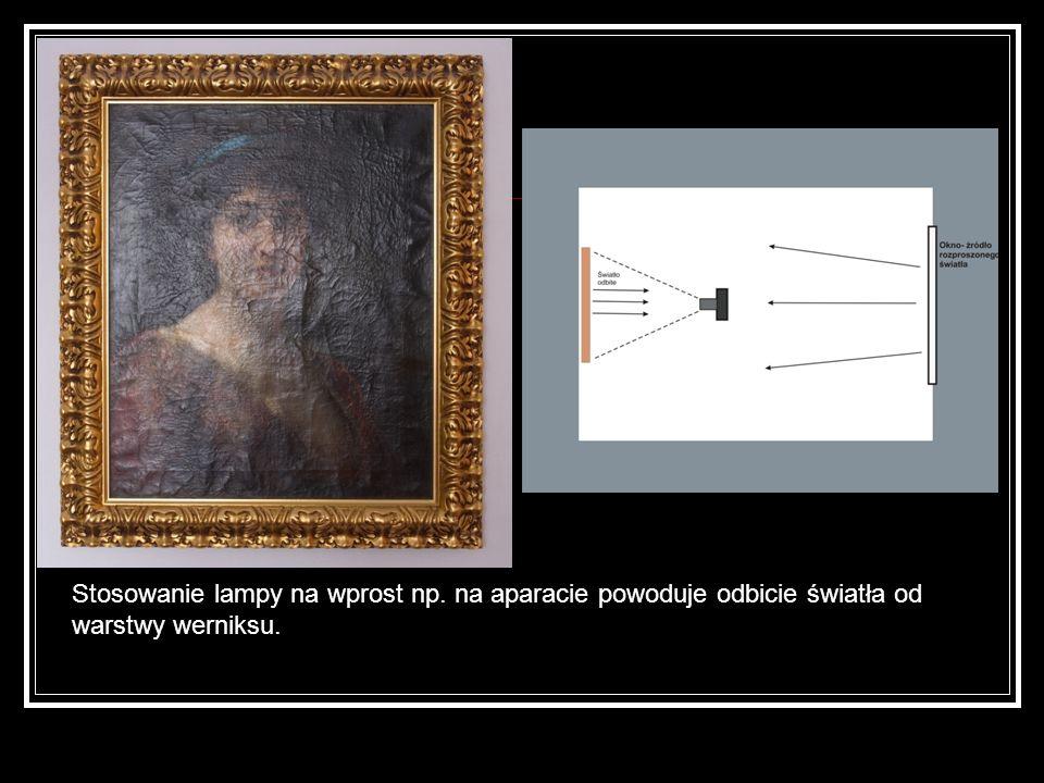 Stosowanie lampy na wprost np. na aparacie powoduje odbicie światła od warstwy werniksu.