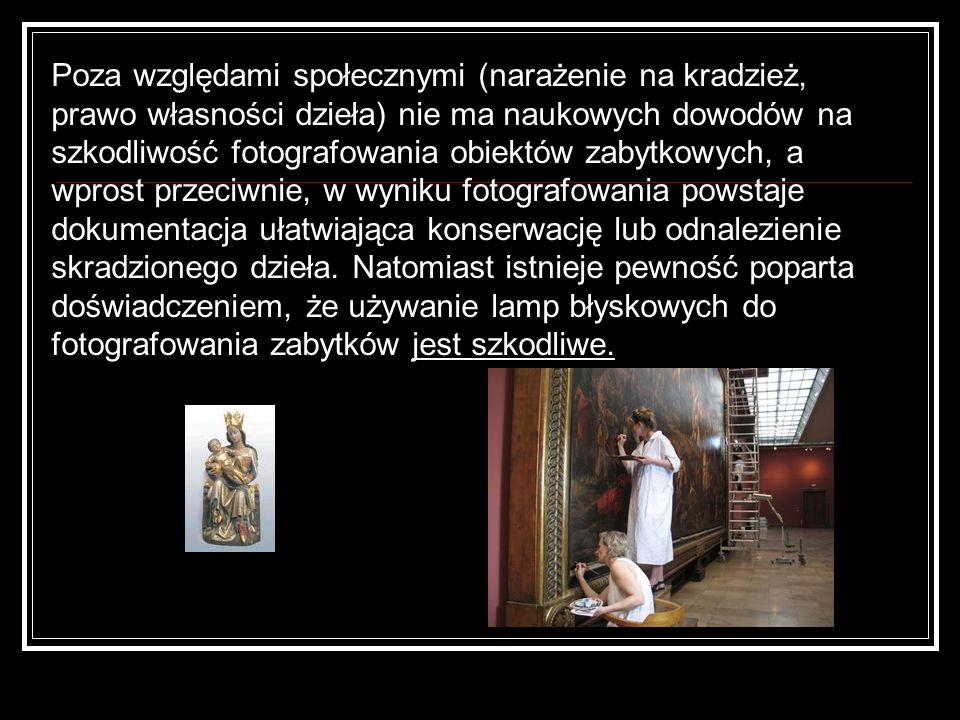 Poza względami społecznymi (narażenie na kradzież, prawo własności dzieła) nie ma naukowych dowodów na szkodliwość fotografowania obiektów zabytkowych