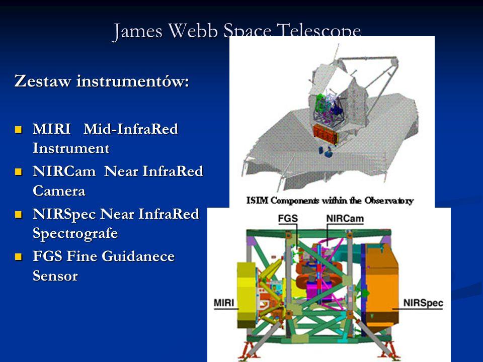 Zestaw instrumentów: MIRI Mid-InfraRed Instrument MIRI Mid-InfraRed Instrument NIRCam Near InfraRed Camera NIRCam Near InfraRed Camera NIRSpec Near In