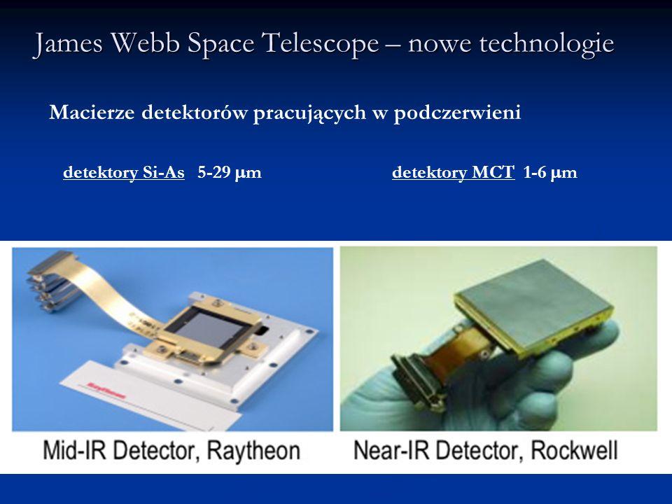 James Webb Space Telescope – nowe technologie Macierze detektorów pracujących w podczerwieni detektory Si-As 5-29 m detektory MCT 1-6 m