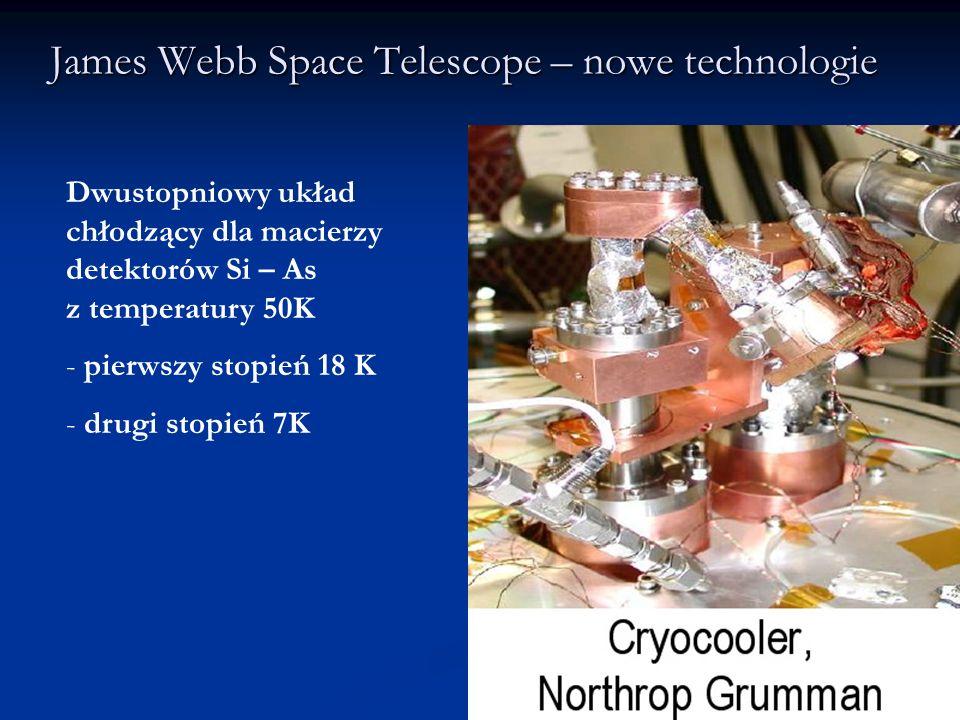 James Webb Space Telescope – nowe technologie Dwustopniowy układ chłodzący dla macierzy detektorów Si – As z temperatury 50K - pierwszy stopień 18 K -