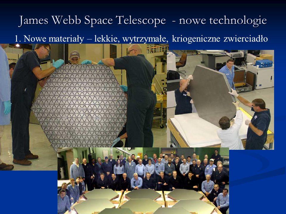 James Webb Space Telescope - nowe technologie 1. Nowe materiały – lekkie, wytrzymałe, kriogeniczne zwierciadło