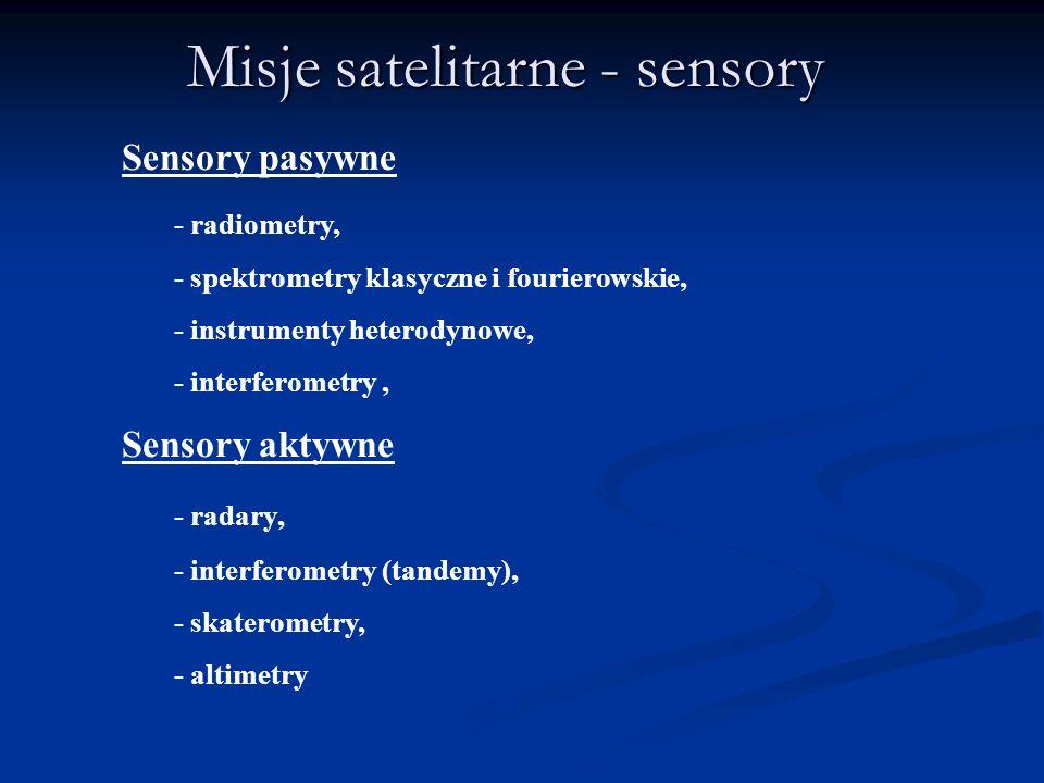 Misje satelitarne - sensory Sensory pasywne - radiometry, - spektrometry klasyczne i fourierowskie, - instrumenty heterodynowe, - interferometry, Sens