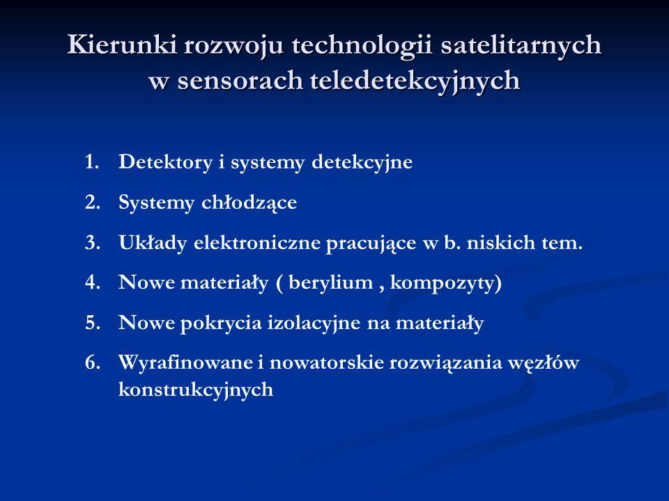 Kierunki rozwoju technologii satelitarnych w sensorach teledetekcyjnych 1.Detektory i systemy detekcyjne 2.Systemy chłodzące 3.Układy elektroniczne pr