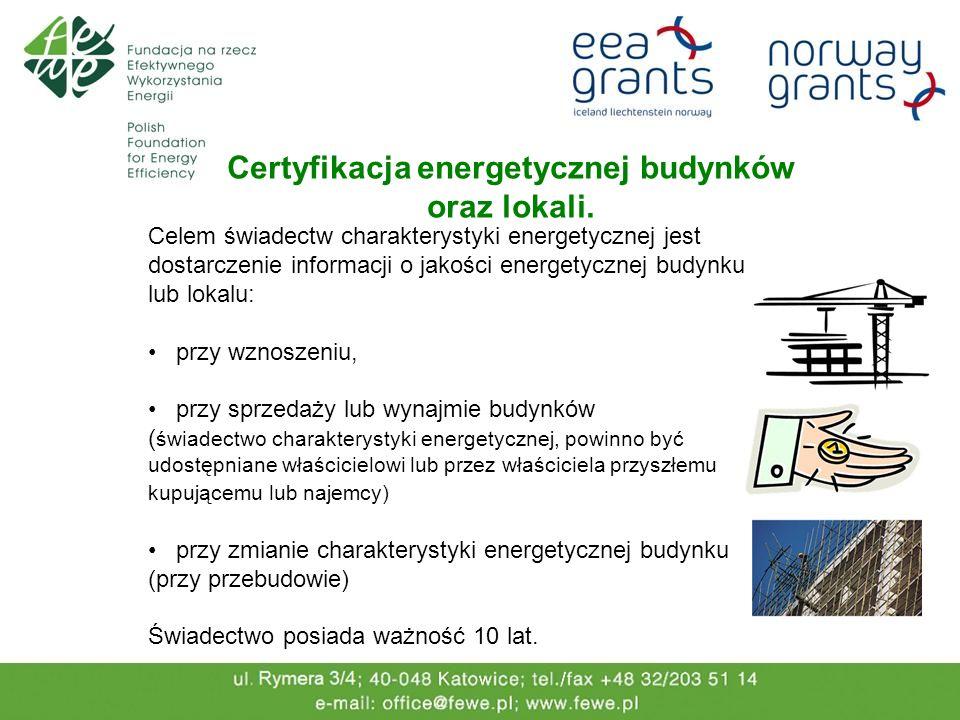 Celem świadectw charakterystyki energetycznej jest dostarczenie informacji o jakości energetycznej budynku lub lokalu: przy wznoszeniu, przy sprzedaży