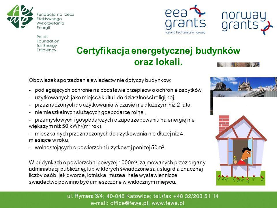 Certyfikacja energetycznej budynków oraz lokali. Obowiązek sporządzania świadectw nie dotyczy budynków: - podlegających ochronie na podstawie przepisó