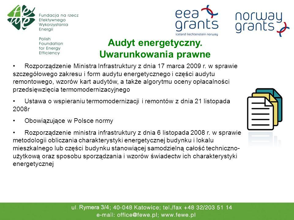 Audyt energetyczny. Uwarunkowania prawne Rozporządzenie Ministra Infrastruktury z dnia 17 marca 2009 r. w sprawie szczegółowego zakresu i form audytu