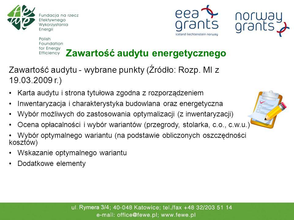 Zawartość audytu energetycznego Zawartość audytu - wybrane punkty (Źródło: Rozp. MI z 19.03.2009 r.) Karta audytu i strona tytułowa zgodna z rozporząd