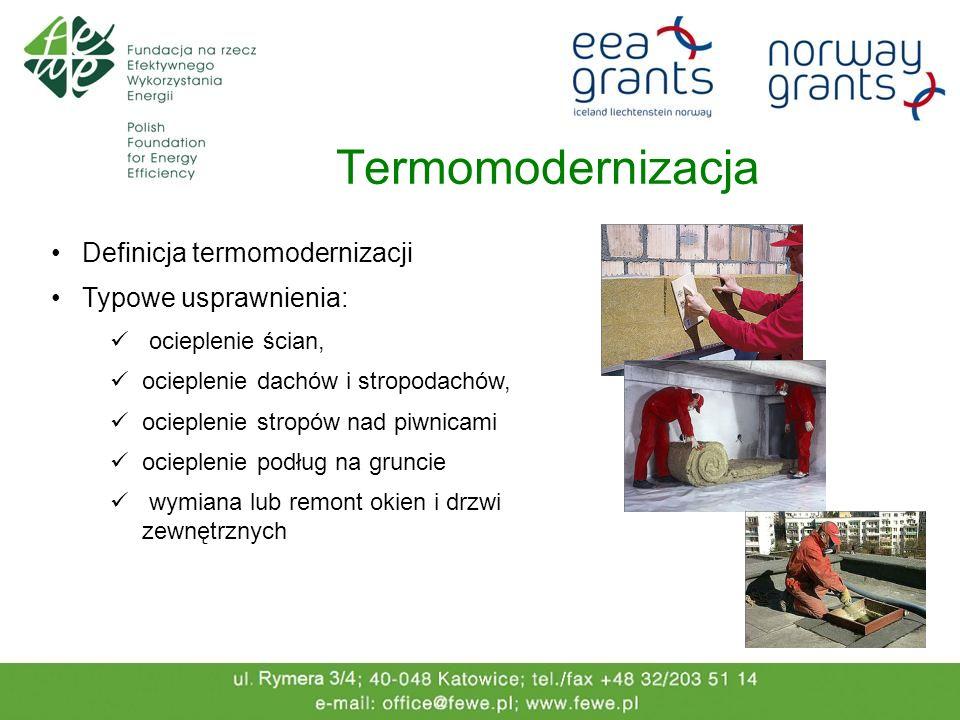 Termomodernizacja Definicja termomodernizacji Typowe usprawnienia: ocieplenie ścian, ocieplenie dachów i stropodachów, ocieplenie stropów nad piwnicam