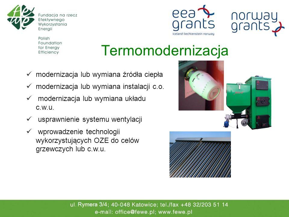 Termomodernizacja modernizacja lub wymiana źródła ciepła modernizacja lub wymiana instalacji c.o. modernizacja lub wymiana układu c.w.u. usprawnienie
