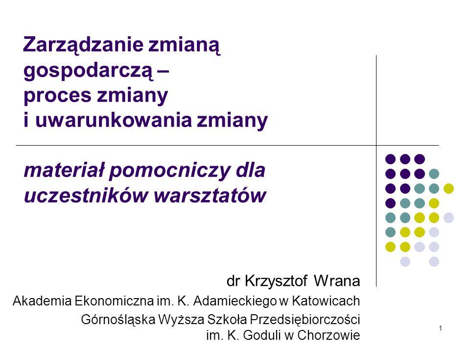 1 Zarządzanie zmianą gospodarczą – proces zmiany i uwarunkowania zmiany materiał pomocniczy dla uczestników warsztatów dr Krzysztof Wrana Akademia Eko