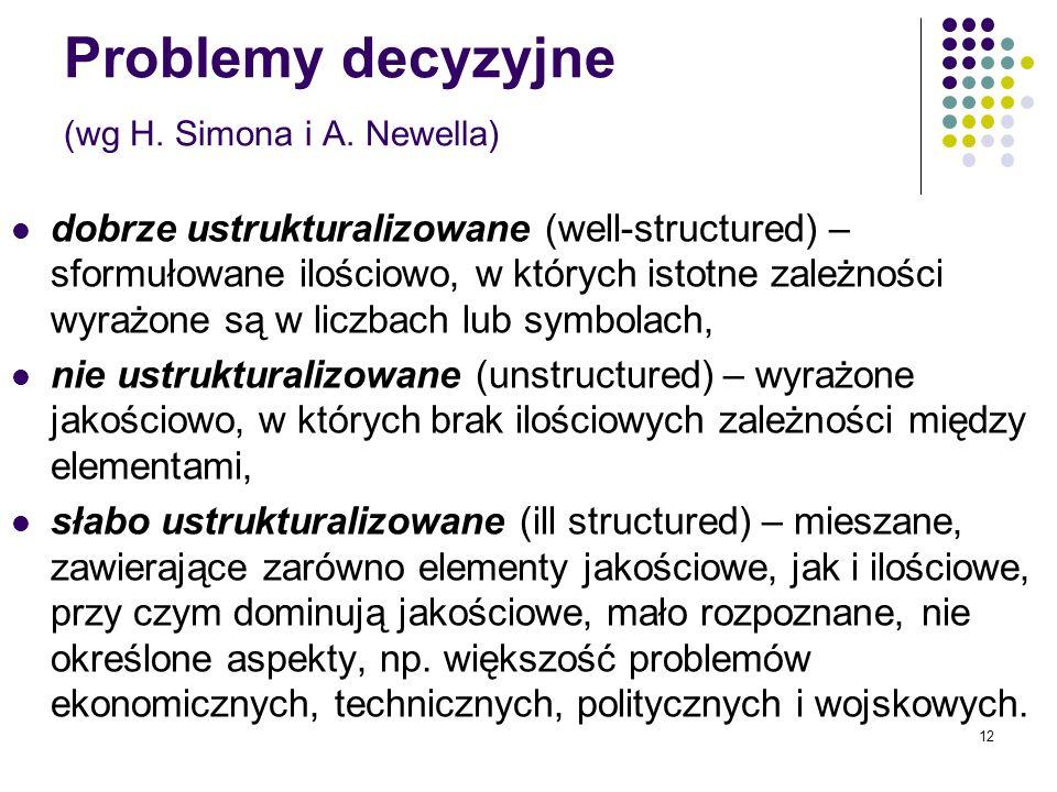 12 Problemy decyzyjne (wg H. Simona i A. Newella) dobrze ustrukturalizowane (well-structured) – sformułowane ilościowo, w których istotne zależności w