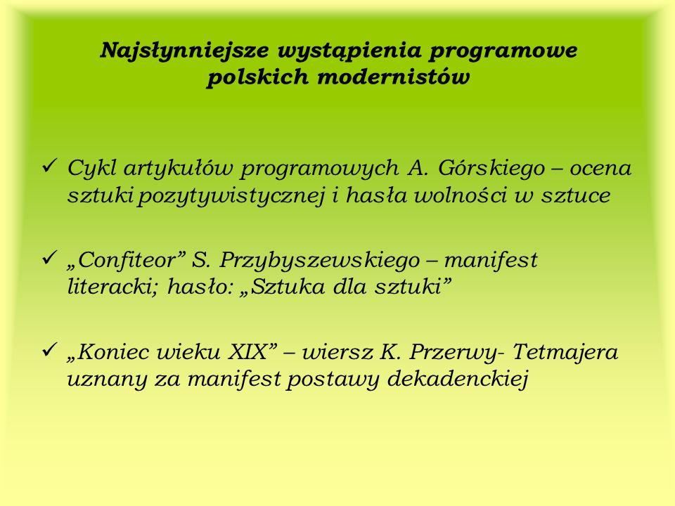 Najsłynniejsze wystąpienia programowe polskich modernistów Cykl artykułów programowych A. Górskiego – ocena sztuki pozytywistycznej i hasła wolności w