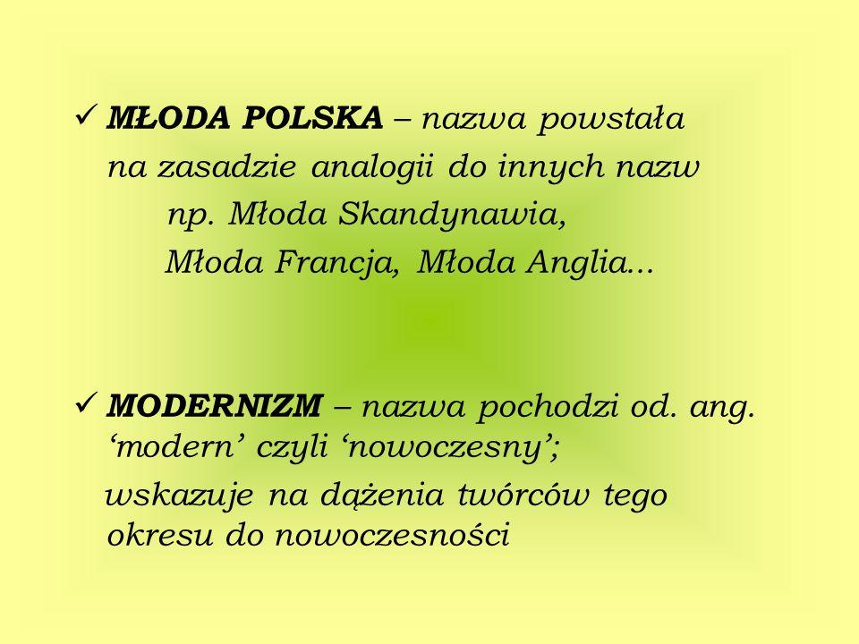 MŁODA POLSKA – nazwa powstała na zasadzie analogii do innych nazw np. Młoda Skandynawia, Młoda Francja, Młoda Anglia... MODERNIZM – nazwa pochodzi od.