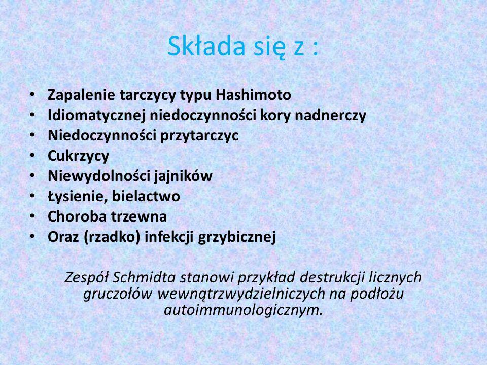 Składa się z : Zapalenie tarczycy typu Hashimoto Idiomatycznej niedoczynności kory nadnerczy Niedoczynności przytarczyc Cukrzycy Niewydolności jajnikó
