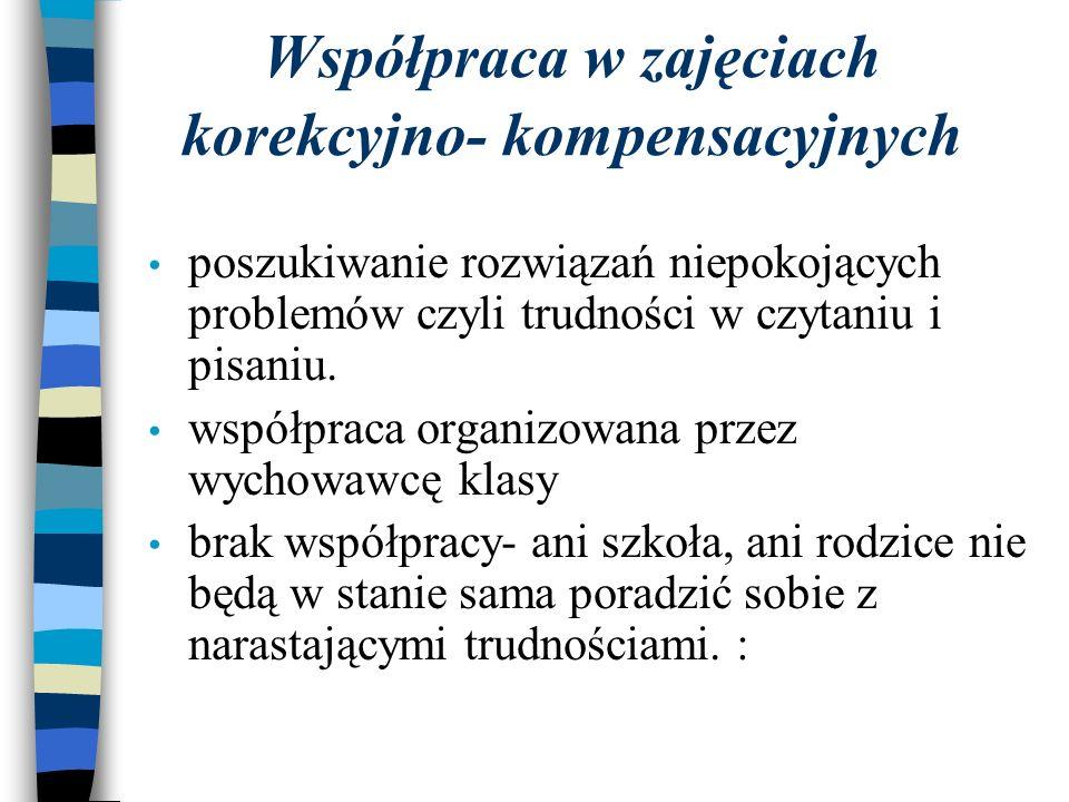 Współpraca w zajęciach korekcyjno- kompensacyjnych poszukiwanie rozwiązań niepokojących problemów czyli trudności w czytaniu i pisaniu. współpraca org