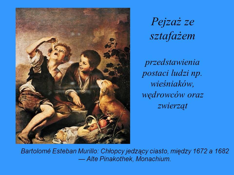 Pejzaż ze sztafażem przedstawienia postaci ludzi np. wieśniaków, wędrowców oraz zwierząt Bartolomé Esteban Murillo: Chłopcy jedzący ciasto, między 167
