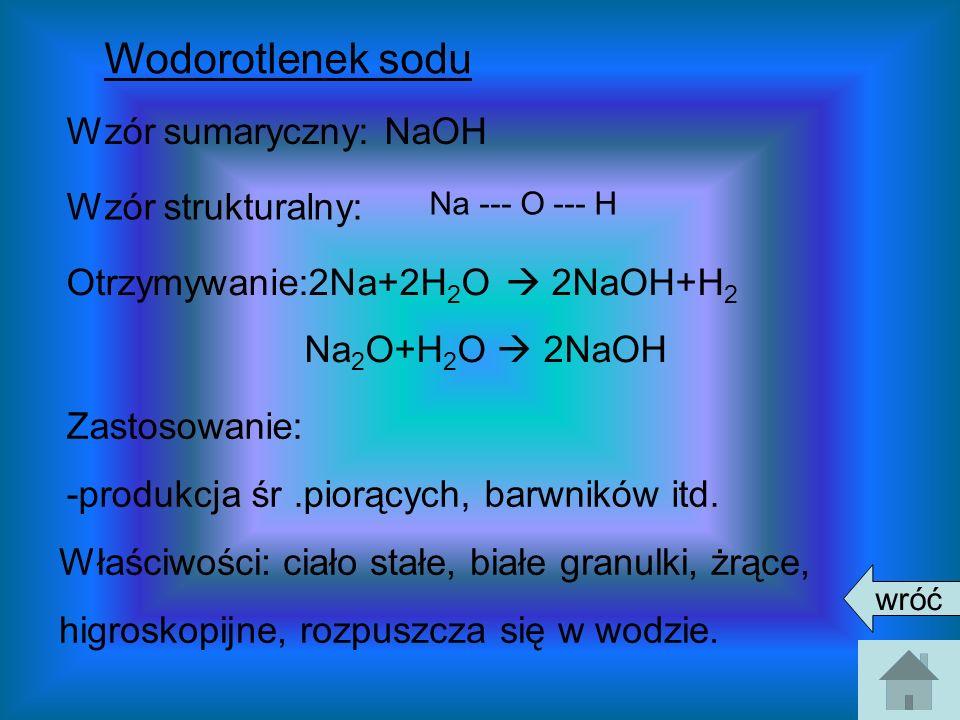 Wodorotlenek sodu Wzór sumaryczny: NaOH Wzór strukturalny: Otrzymywanie:2Na+2H 2 O 2NaOH+H 2 Na 2 O+H 2 O 2NaOH Zastosowanie: -produkcja śr.piorących,