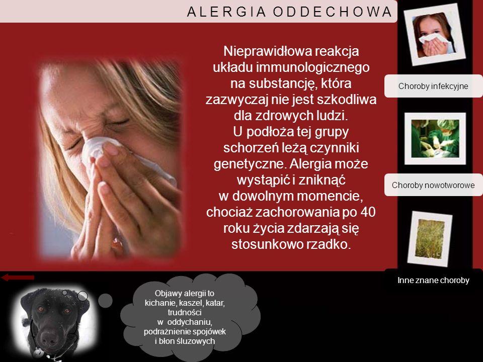 A L E R G I A O D D E C H O W A Nieprawidłowa reakcja układu immunologicznego na substancję, która zazwyczaj nie jest szkodliwa dla zdrowych ludzi.