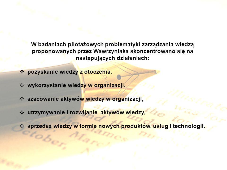 W badaniach pilotażowych problematyki zarządzania wiedzą proponowanych przez Wawrzyniaka skoncentrowano się na następujących działaniach: pozyskanie w