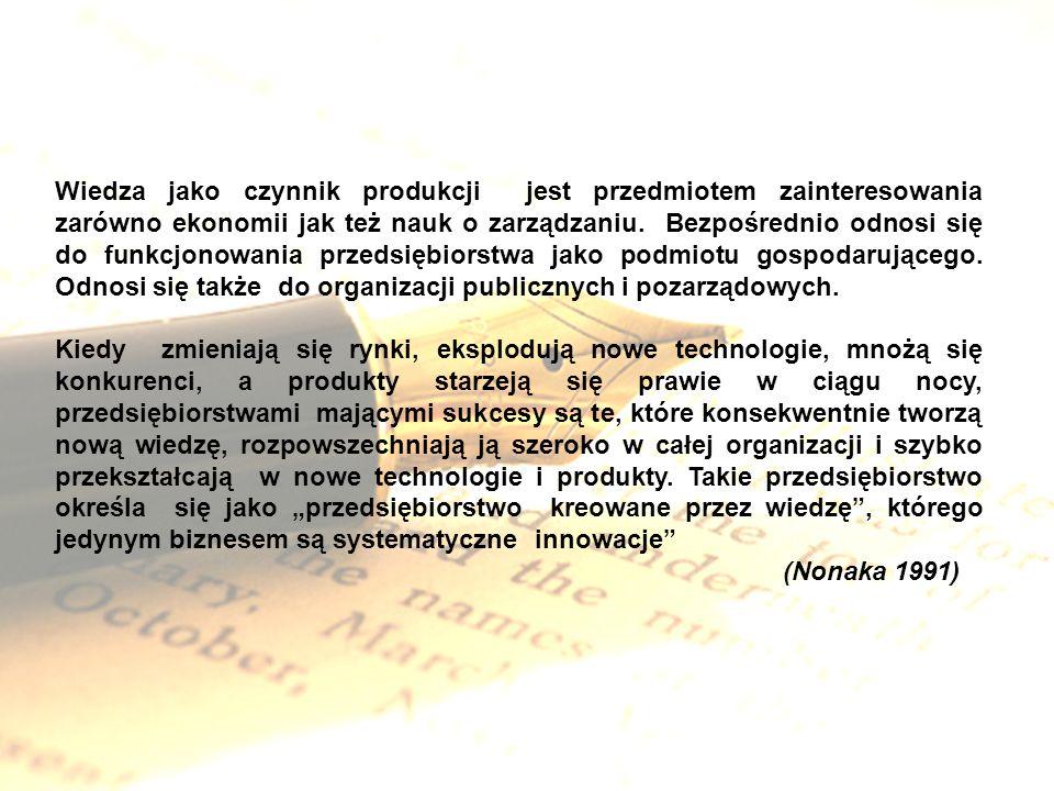 Wiedza jako czynnik produkcji jest przedmiotem zainteresowania zarówno ekonomii jak też nauk o zarządzaniu. Bezpośrednio odnosi się do funkcjonowania