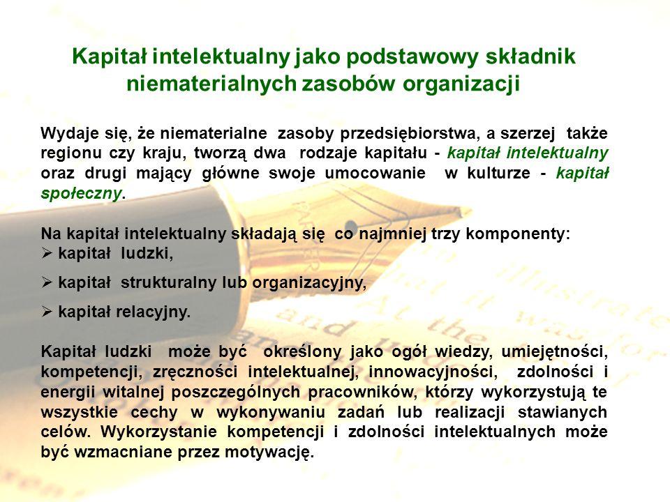 Kapitał intelektualny jako podstawowy składnik niematerialnych zasobów organizacji Wydaje się, że niematerialne zasoby przedsiębiorstwa, a szerzej tak