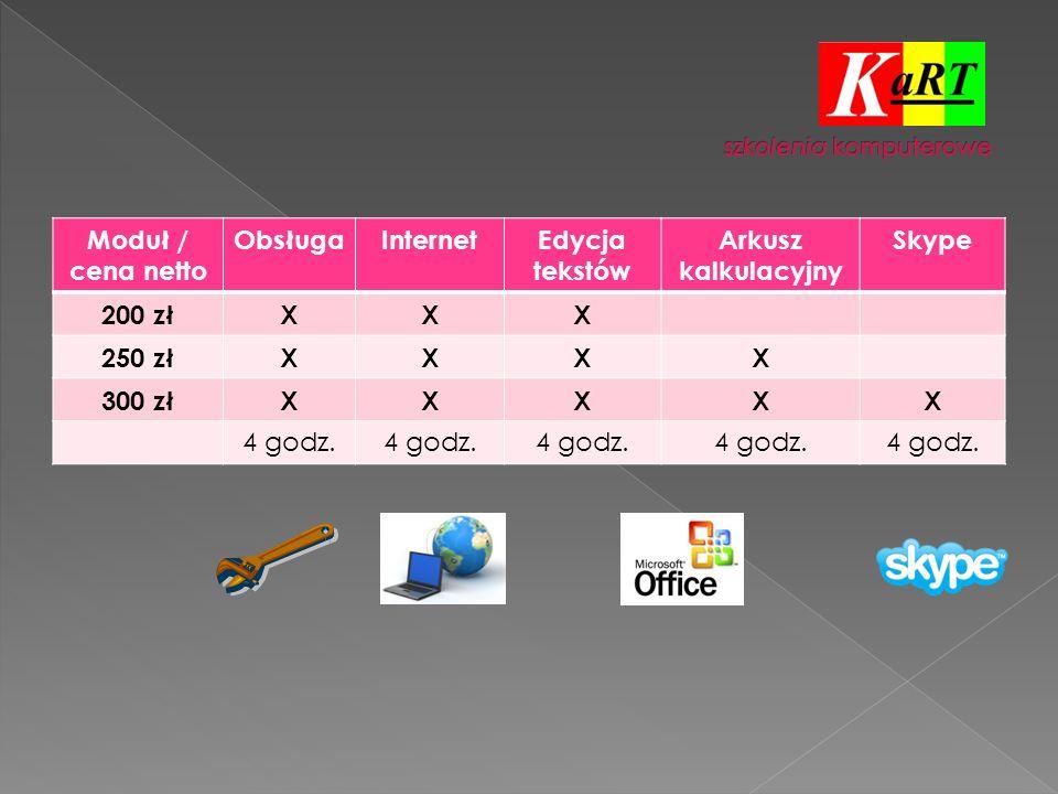 Moduł / cena netto ObsługaInternetEdycja tekstów Arkusz kalkulacyjny Skype 200 złXXX 250 złXXXX 300 złXXXXX 4 godz.