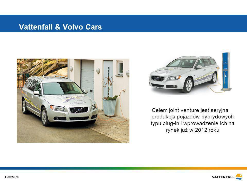 © Vattenfall AB Vattenfall & Volvo Cars Celem joint venture jest seryjna produkcja pojazdów hybrydowych typu plug-in i wprowadzenie ich na rynek już w 2012 roku