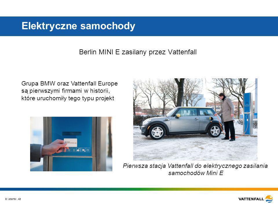 © Vattenfall AB Elektryczne samochody Berlin MINI E zasilany przez Vattenfall Pierwsza stacja Vattenfall do elektrycznego zasilania samochodów Mini E Grupa BMW oraz Vattenfall Europe są pierwszymi firmami w historii, które uruchomiły tego typu projekt