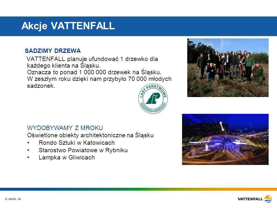 © Vattenfall AB Akcje VATTENFALL SADZIMY DRZEWA VATTENFALL planuje ufundować 1 drzewko dla każdego klienta na Śląsku.
